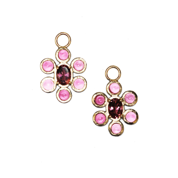 Closeup photo of In Bloom Pink Tourmaline Flower Earring Charm