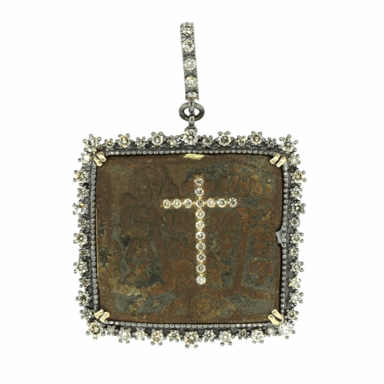 Russian Icon With Diamond Cross Inlay