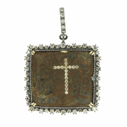 Closeup photo of Russian Icon With Diamond Cross Inlay