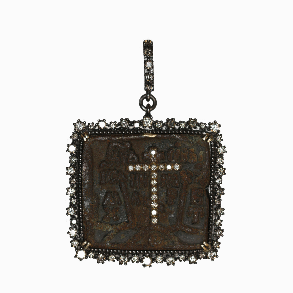 Image 2 for Russian Icon With Diamond Cross Inlay