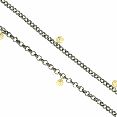 The Medici Station Necklace features 26 inches of elegant, finely scored 24k gold link with pearl stations and greek encaps. Learn more: