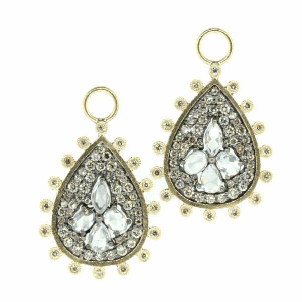Closeup photo of Rose Cut Diamond Pear Shaped Earring Charms