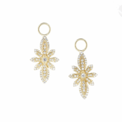 The pearl briolette earring charms feature 18k yellow gold with prong set round diamonds and white pearl drops.
