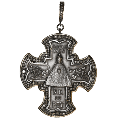 18K Classic Amulet with oval rock crystal and diamond pavé - Temple St. Clair