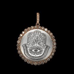 Closeup photo of Rose Gold Engraved Hamsa