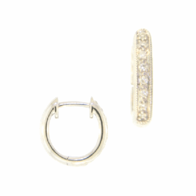Sueno 18k yellow gold open oval artifact enhancer with white diamonds and white sapphires. Diamond Weight 0.26ct