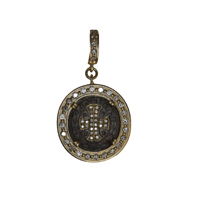 Old World oxidized sterling silver and 18k yellow gold 16mm round enhancer with faceted Blue Turquoise/Rainbow Moonstone doublet, white diamonds and white sapphires. Diamond Weight 0.03ct