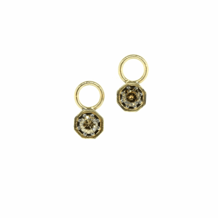 Tiny Champagne Diamond Octagon Earring Charms