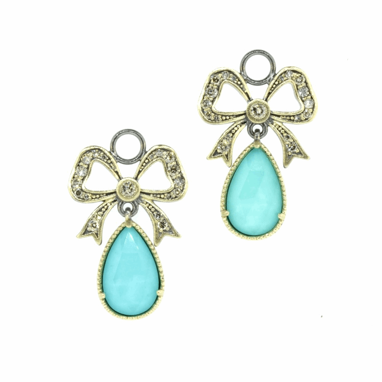 French Bow Turquoise & Diamond Earring Charms