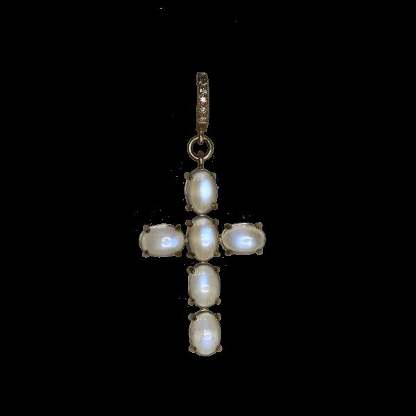 Closeup photo of Oval Moonstone Cross