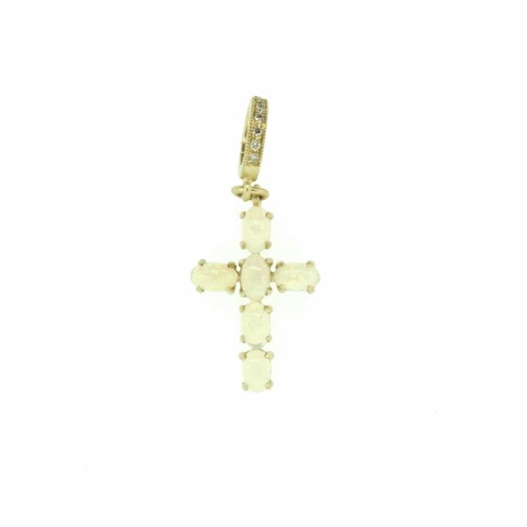 Small Ethiopian Opal Cross Pendant