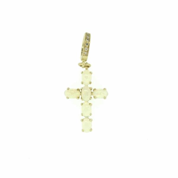 Closeup photo of Small Ethiopian Opal Cross Pendant