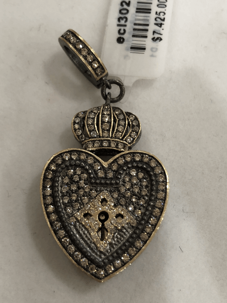 Vintage Heart Shaped Crowned Padlock