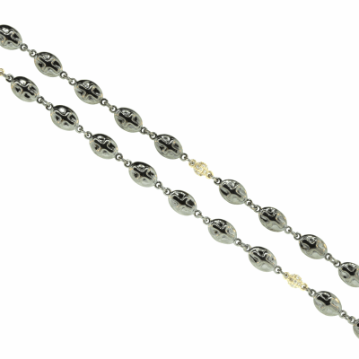 DNA Spring Thin Necklace. Sterling Silver with a Rhodium Plating. Sterling Silver mesh gives this piece it's flexibility.