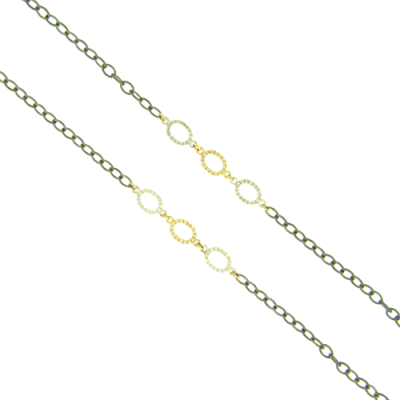 """34"""" Three Oval Rings in Yellow Gold and White Rhodium Silver with White Aqua Details on a Black Rhodium Chain."""