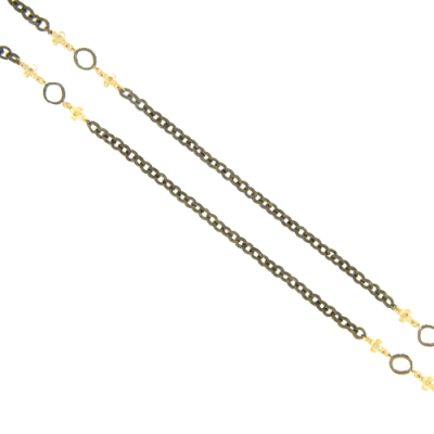 "38"" Black Rhodium and Yellow Gold Necklace with Open Halo Stations and Gold Crosses."