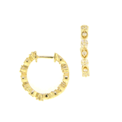 Antique In and Out Diamond Hoops