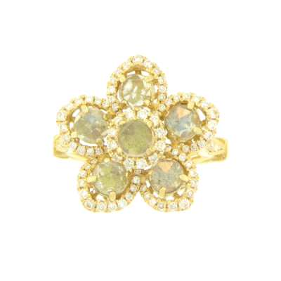 Beautiful Yellow Gold Flower Ring with Labradorite Pedals and Center, Each Surrounded by White Diamonds.