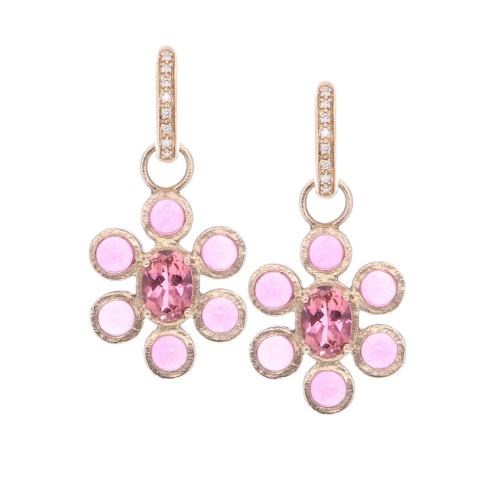 In Bloom Pink Tourmaline Flower Earring Charm