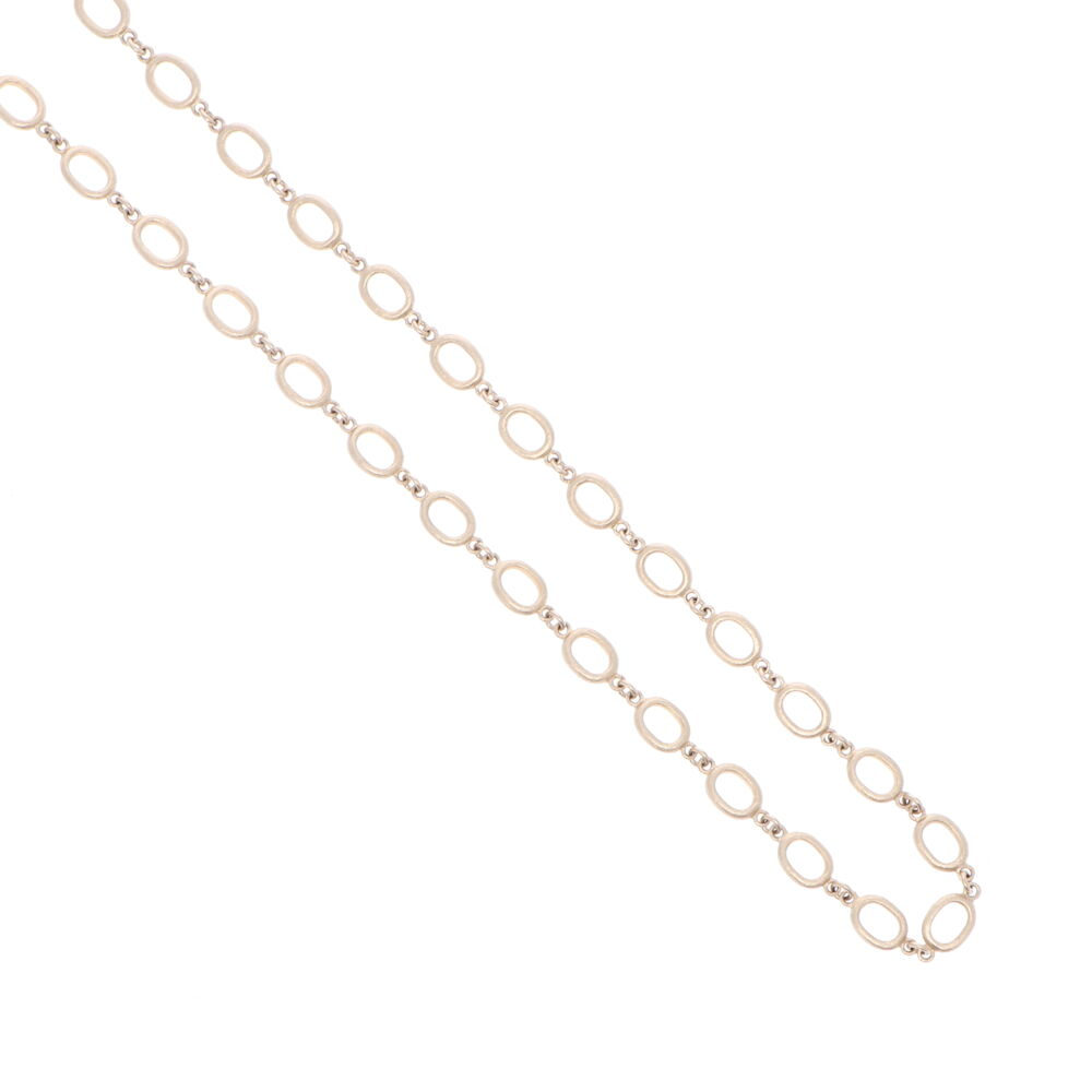 Image 2 for Satin Finish Oval Link Yellow Gold Chain 26""