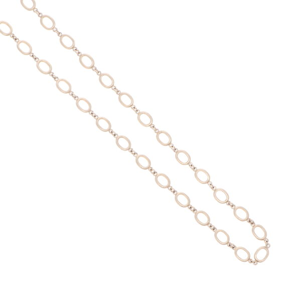 Closeup photo of Satin Finish Oval Link Yellow Gold Chain 26""