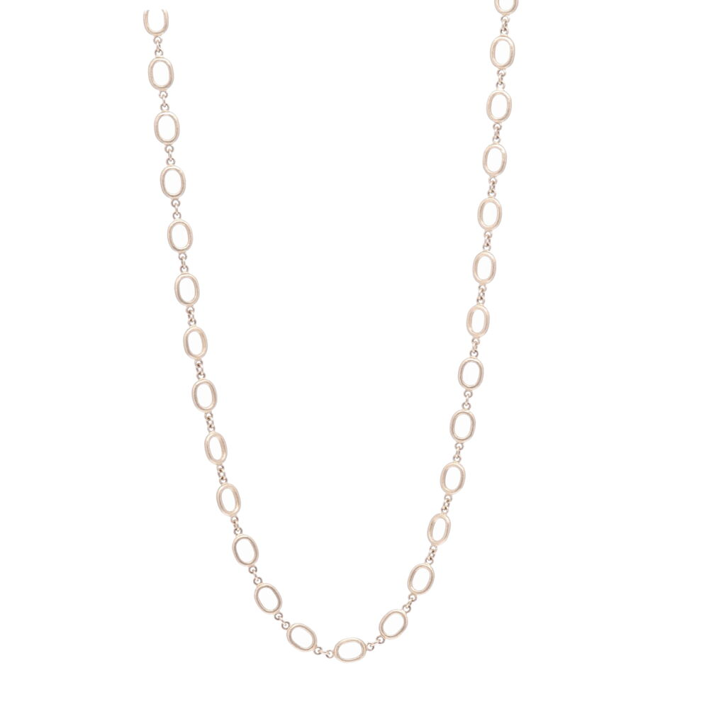 Satin Finish Oval Link Yellow Gold Chain 26""