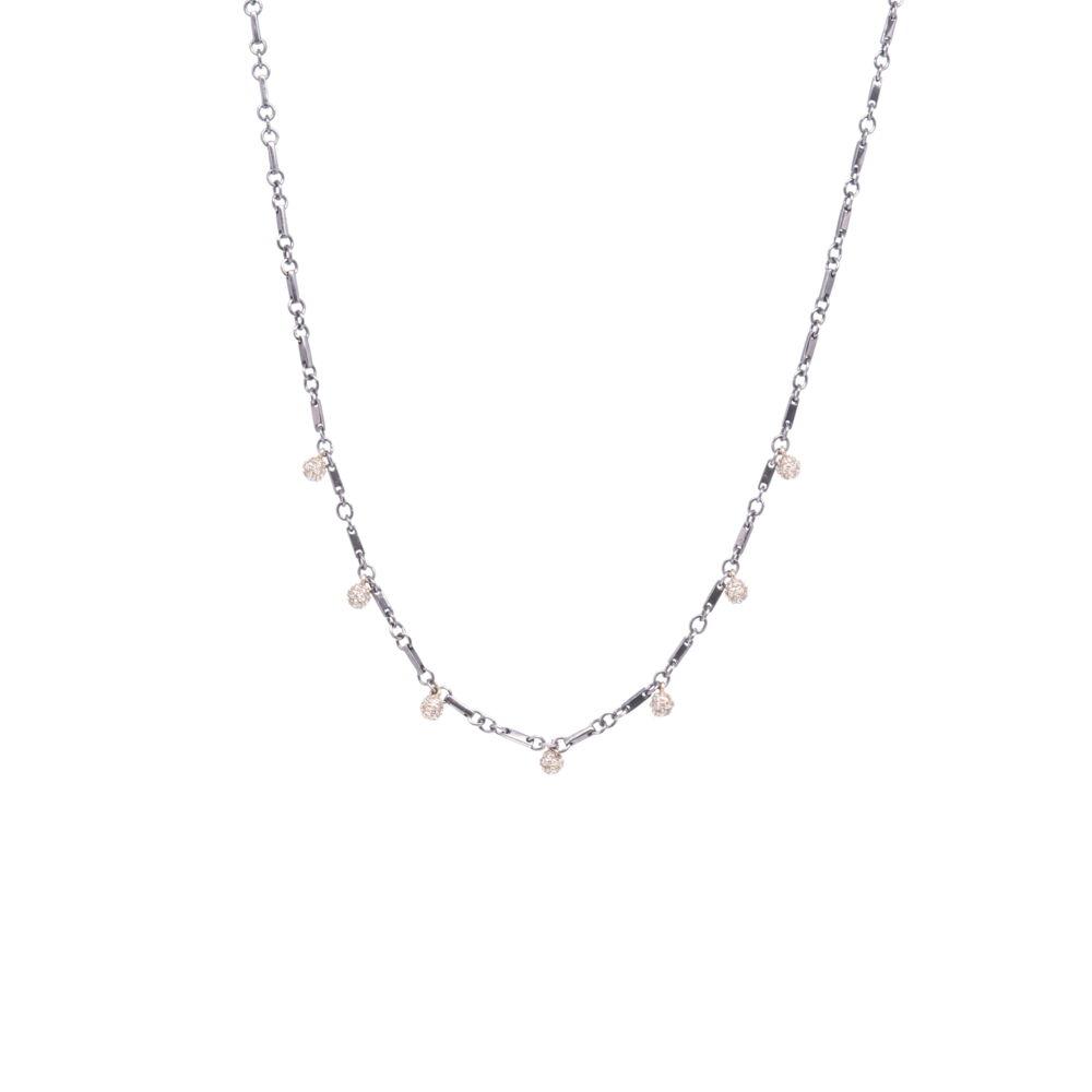 """Tri Colored Diamond Sphere Necklace 18"""""""