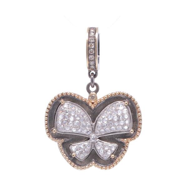 Closeup photo of Pave Diamond Butterfly Pendant