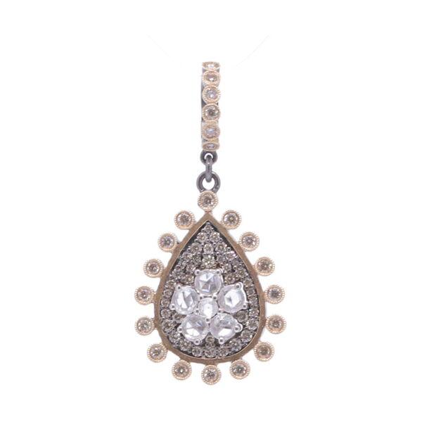Closeup photo of Rose Cut Diamond Flower with Pave Diamond