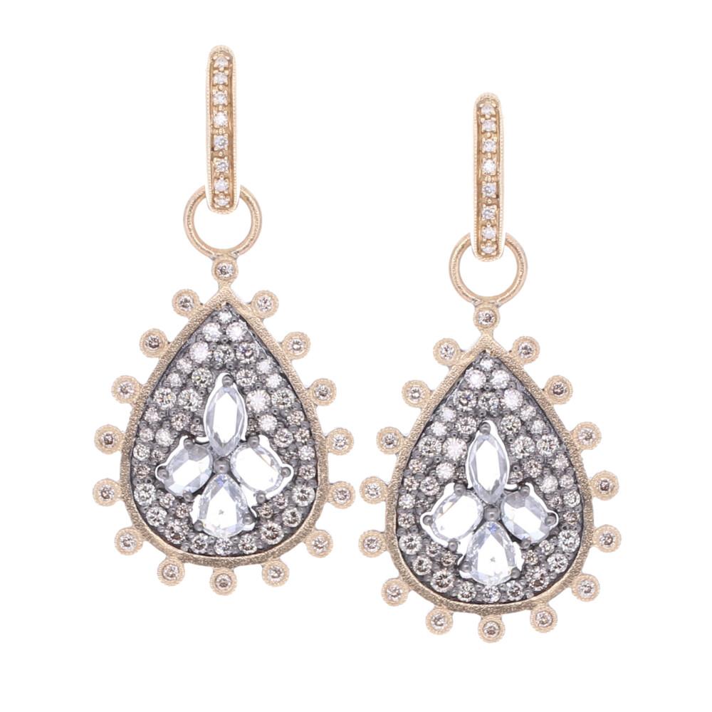 Rose Cut Diamond Pear Shaped Earring Charms
