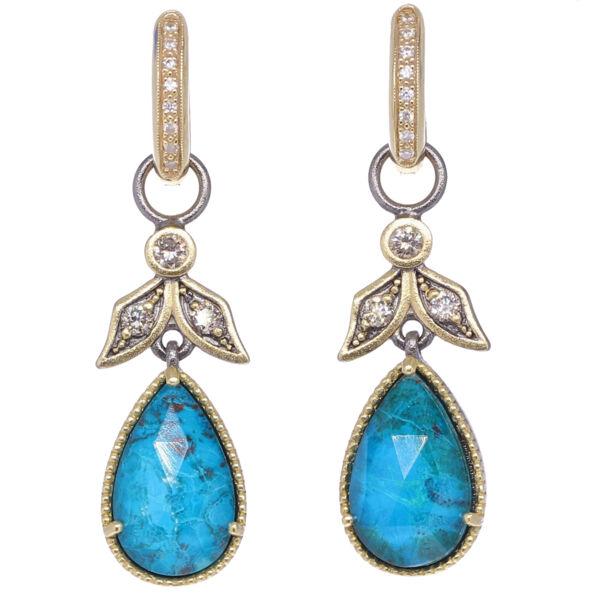 Closeup photo of Angel Chrysoprase & Diamond Earring Charms