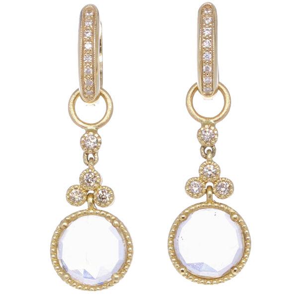 Closeup photo of Round Topaz & Diamond Earring Charms