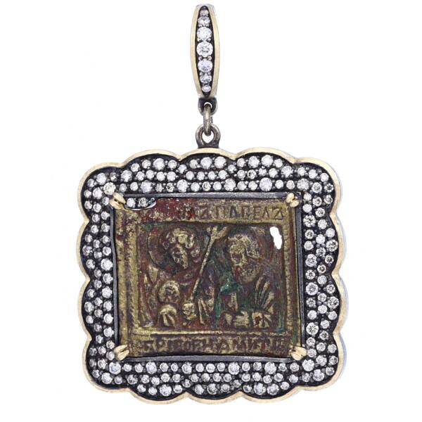 Closeup photo of 18th Century Russian Icon Bronze Pendant