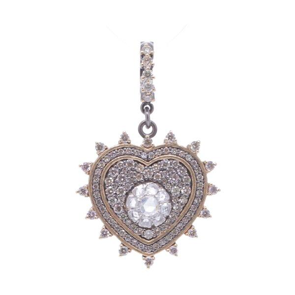 Closeup photo of Pave Diamond Heart with Rose Cut Diamonds