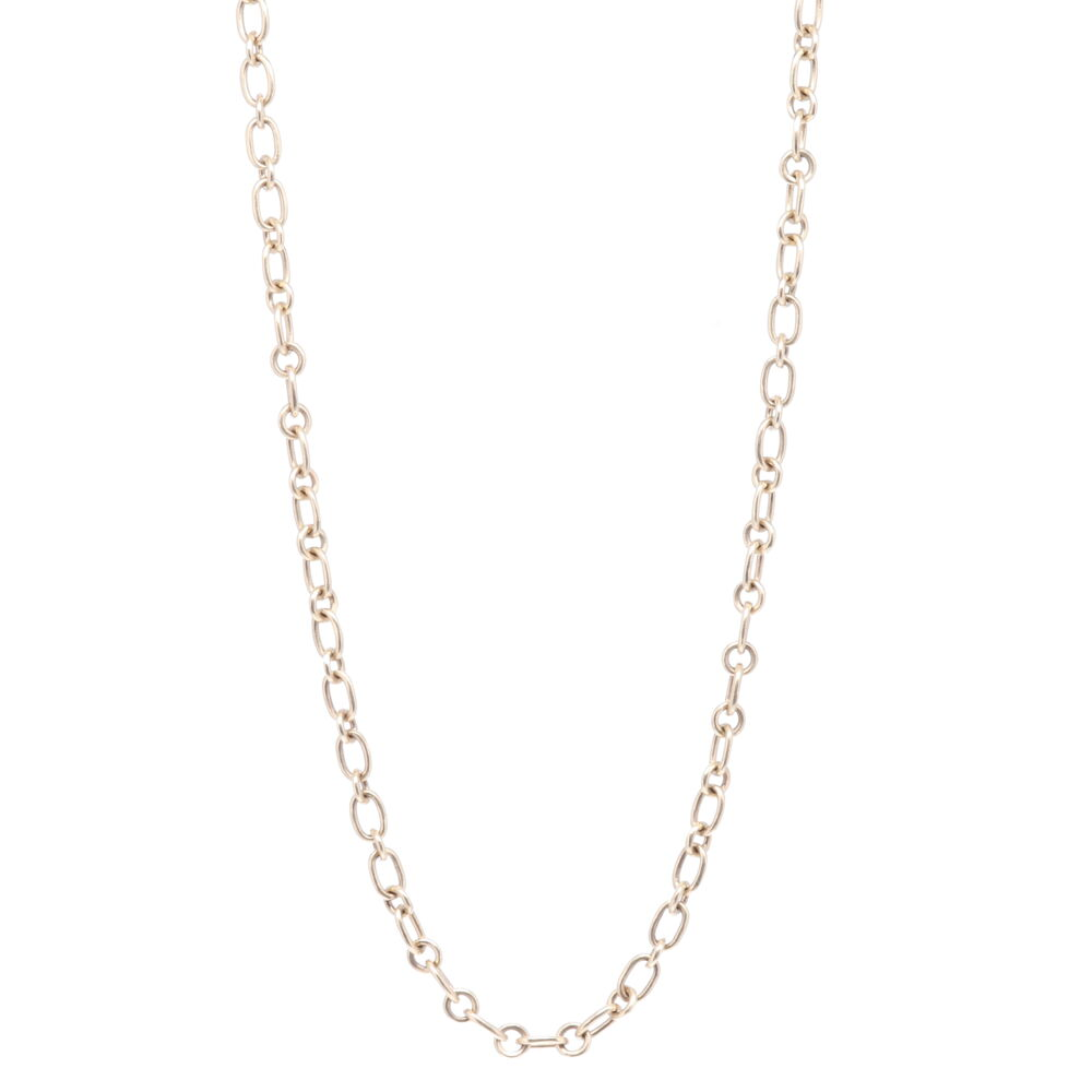 Yellow Gold Oval + Circle Link Chain 32""