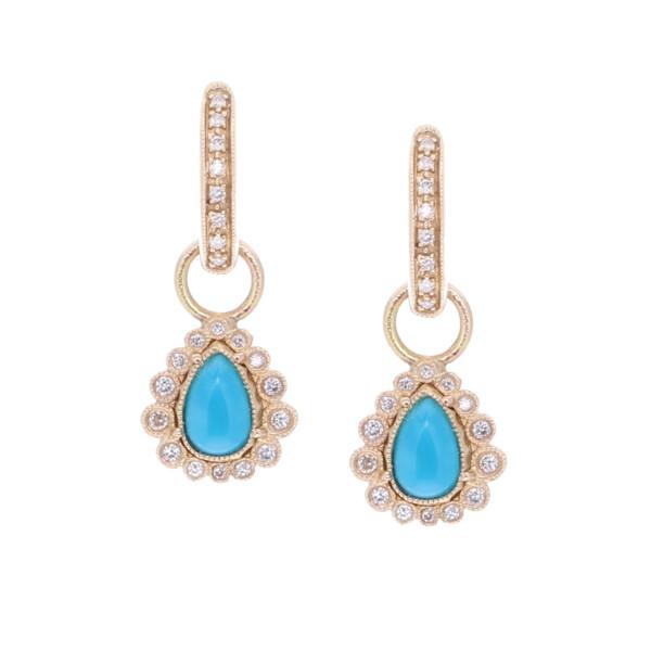 Closeup photo of Sleeping Beauty Turquoise & Diamond Pear shaped Earring Charms