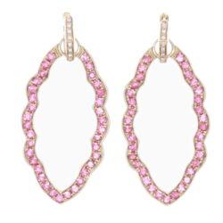 Closeup photo of Marquise Pink Tourmaline Earring Charm Frames