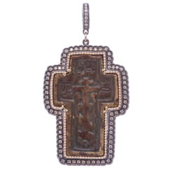 Closeup image for View 18K Vine Amulet With Oval Rock Crystal And Diamond By Temple St. Clair