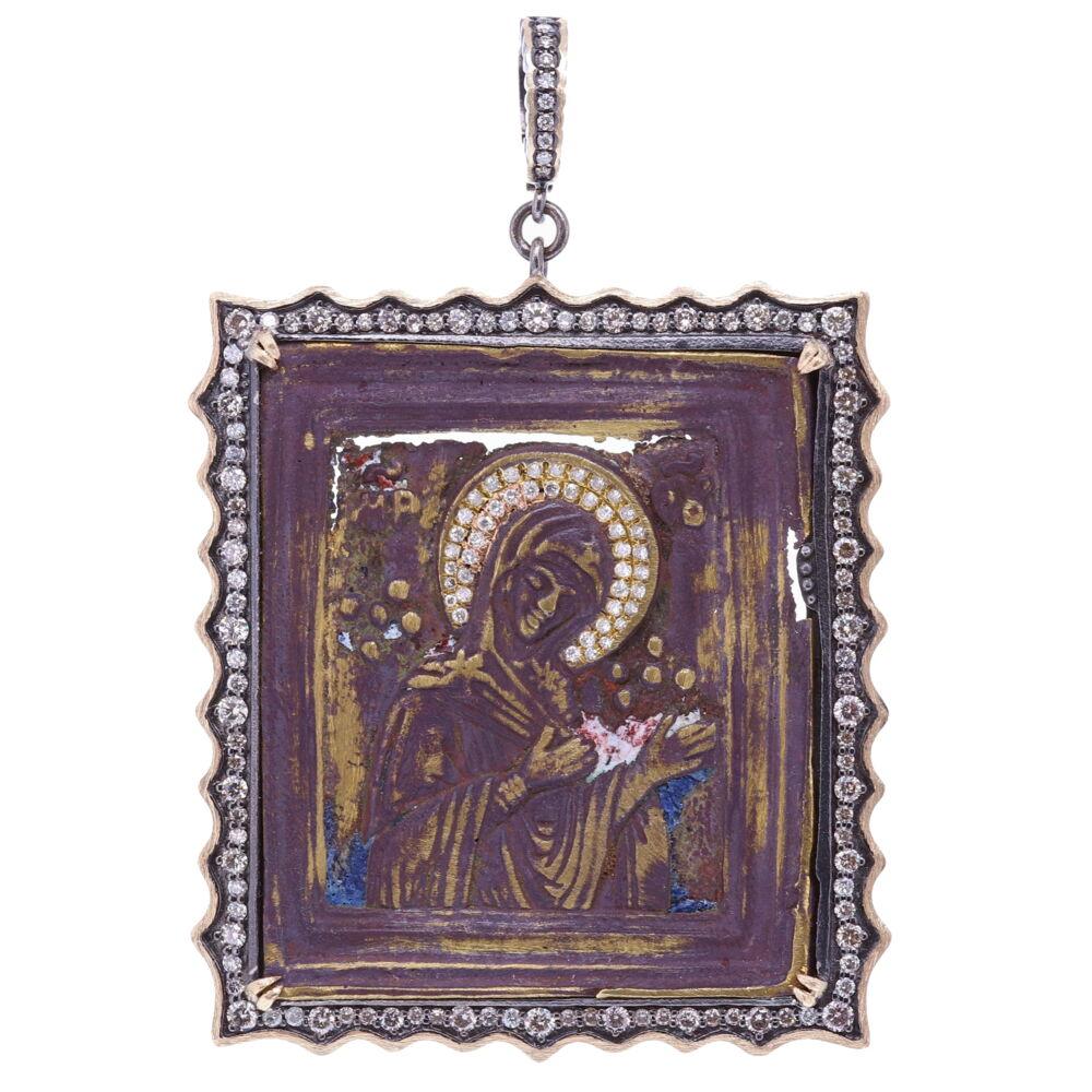 Antique Virgin Russian Icon Pendant