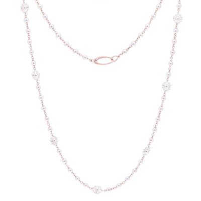 Grey cable, 18 karat White Gold, 0.16     total carat weight Diamonds and stainless steel. Imported. - 04-32-S735-11