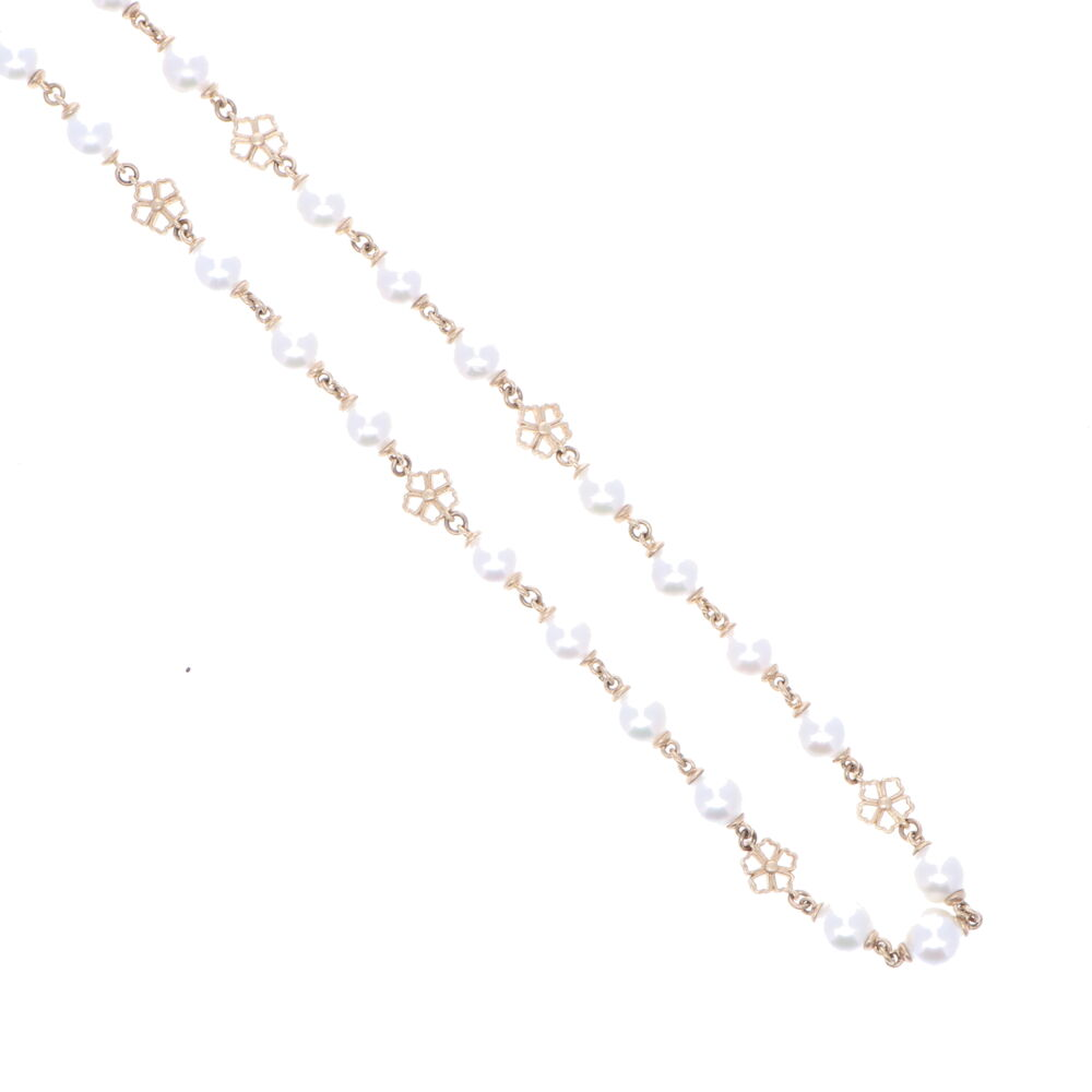 Image 3 for Limited Edition Akoya Pearl Necklace with Flower Stations 32""