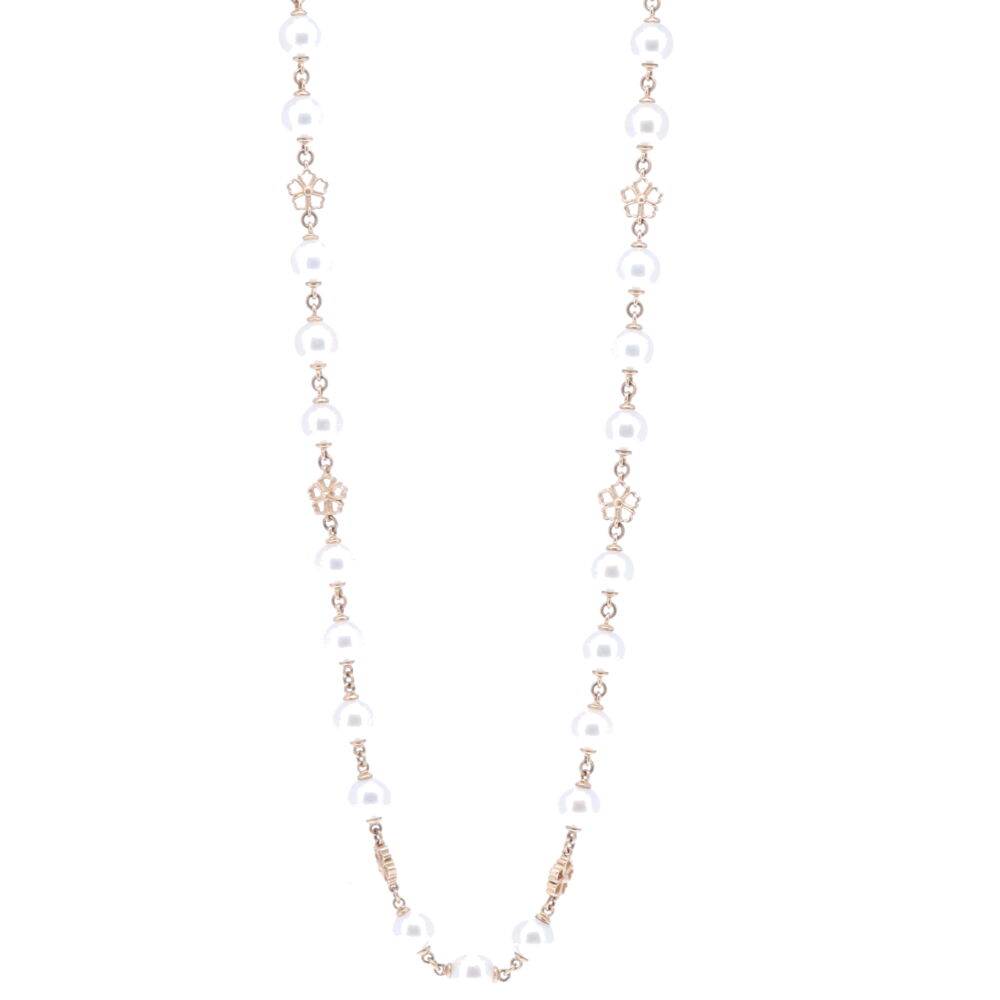 Limited Edition Akoya Pearl Necklace with Flower Stations 32""