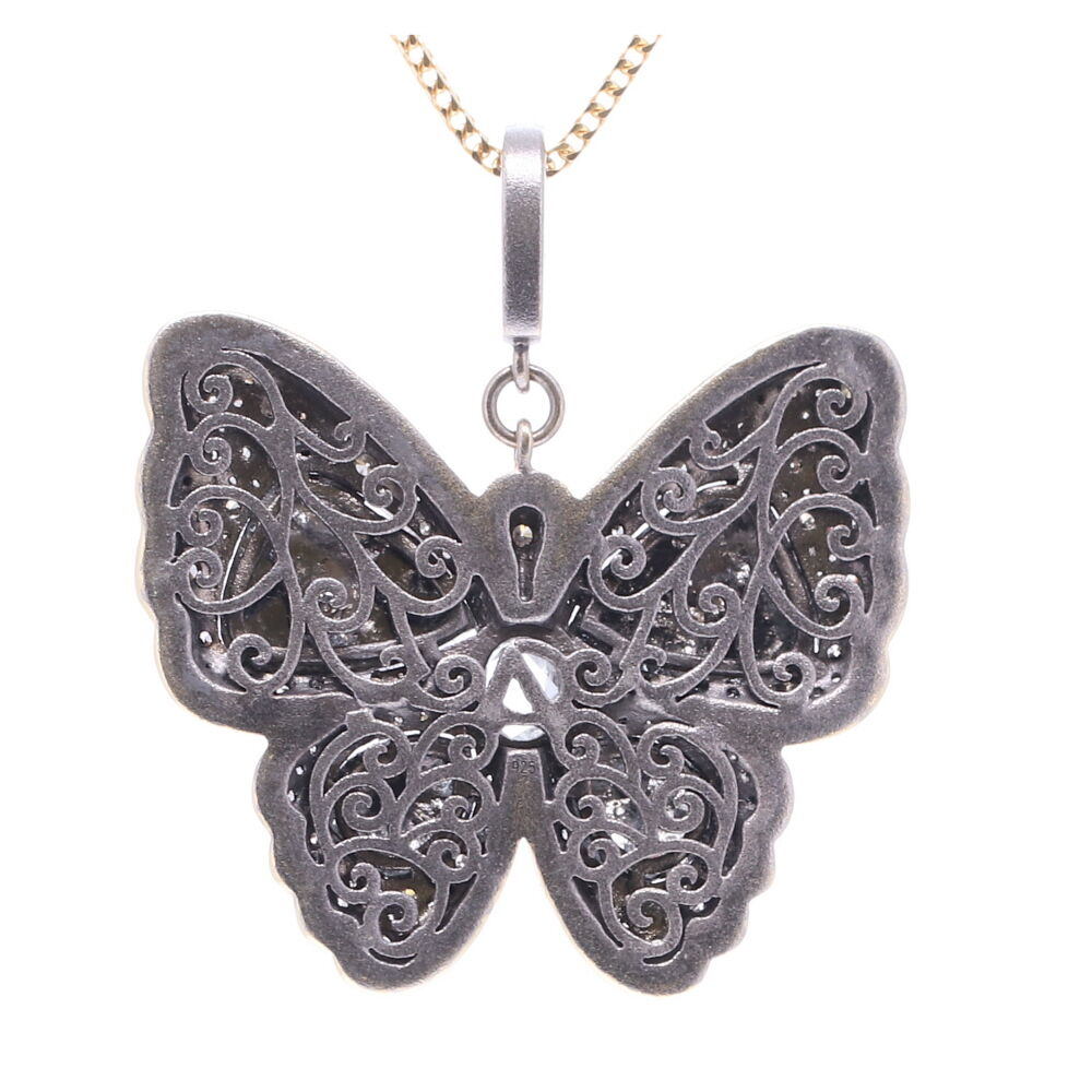 Image 2 for Black Diamond Slice Butterfly Pendant