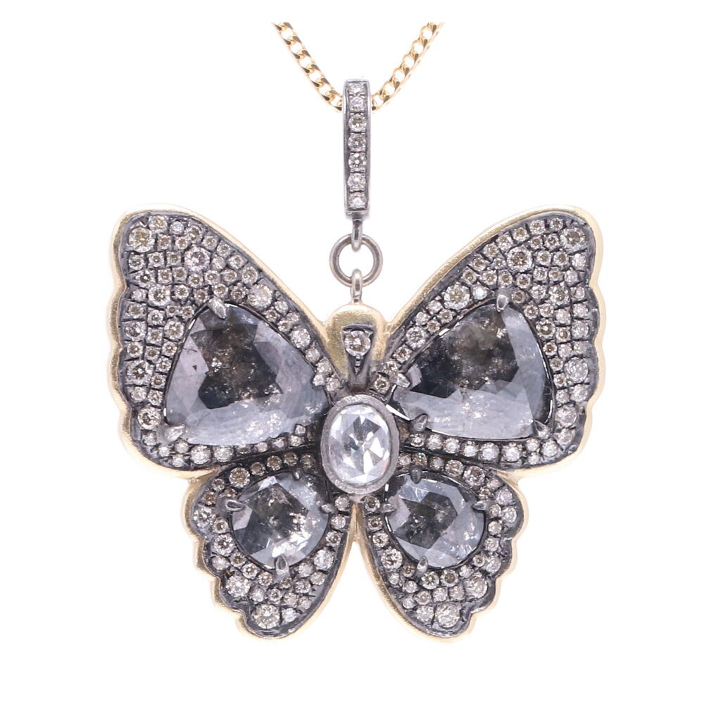 Black Diamond Slice Butterfly Pendant