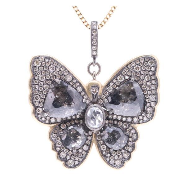 Closeup photo of Black Diamond Slice Butterfly Pendant