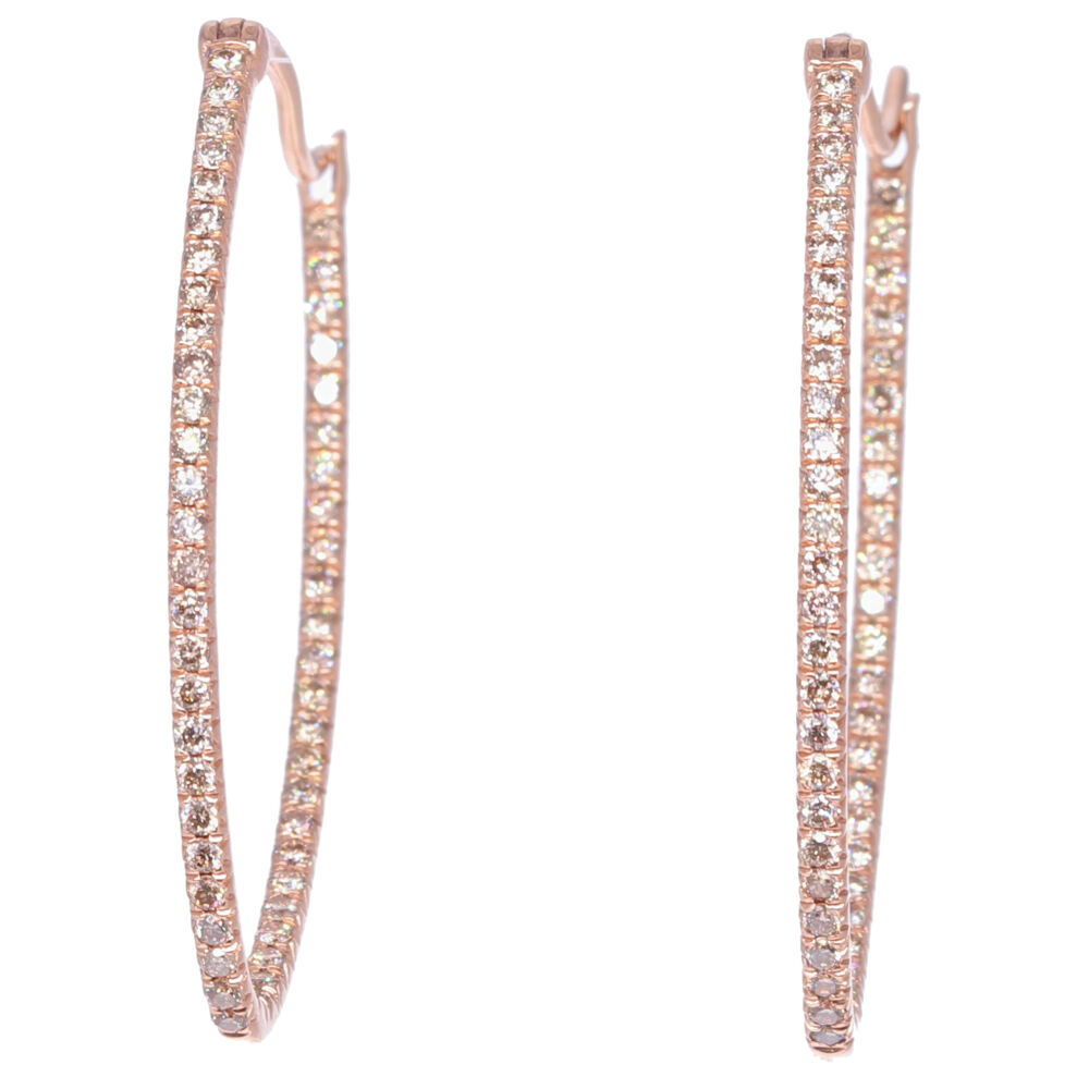 Large Marquis Diamond In & Out Hoops  in Rose Gold