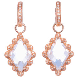 Closeup photo of In Bloom White Topaz & Diamond Earring Charms Rose Gold