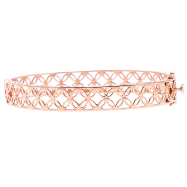 Closeup photo of Lace Rose Gold Hinged Bracelet