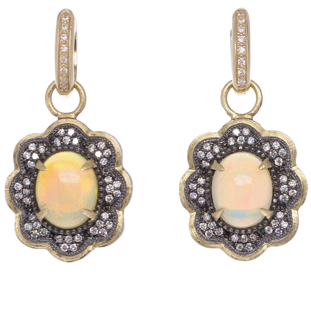 Small Opal Scalloped Earring Charms