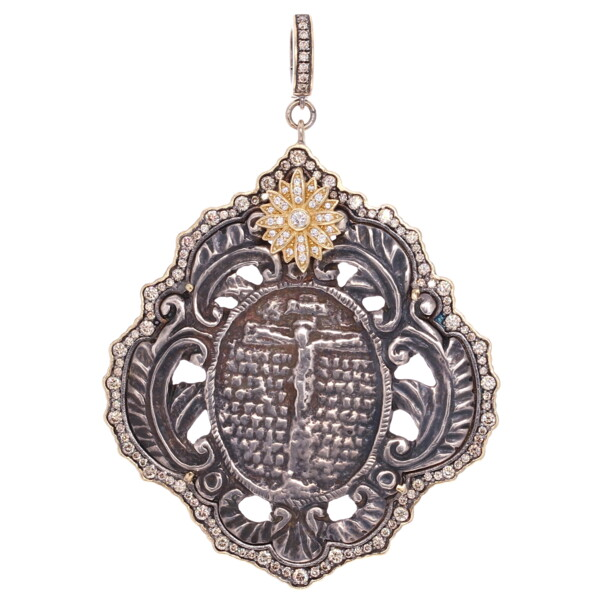 Closeup photo of French Crucifix Medal Pendant